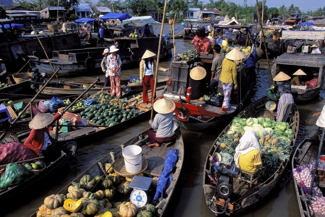 Fresh tropical fruits on offer in Floating market | Saigon Riders
