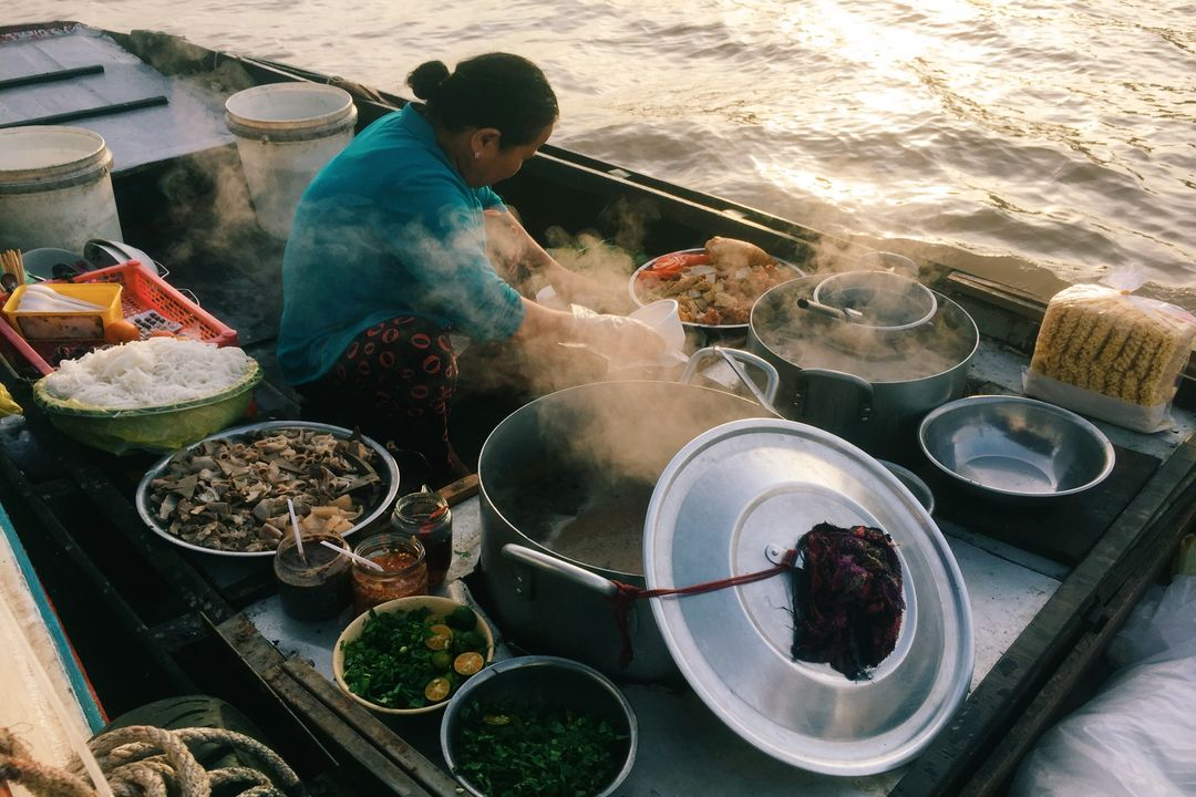 Local food on the boat | Saigon Riders